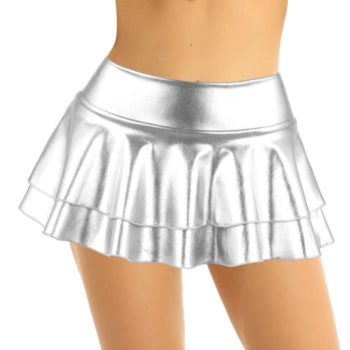 Argent Brillant Mini Jupe Femme Taille Haute Métallique Fête Courte Club wear jupe