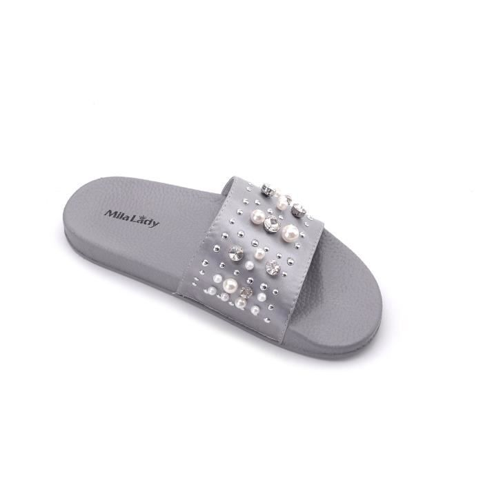 Sandy Fashion Slipper With Pearl And Rhinestone Upper Slip On Silky Slide Sandal JIN7H Taille-37 1-2