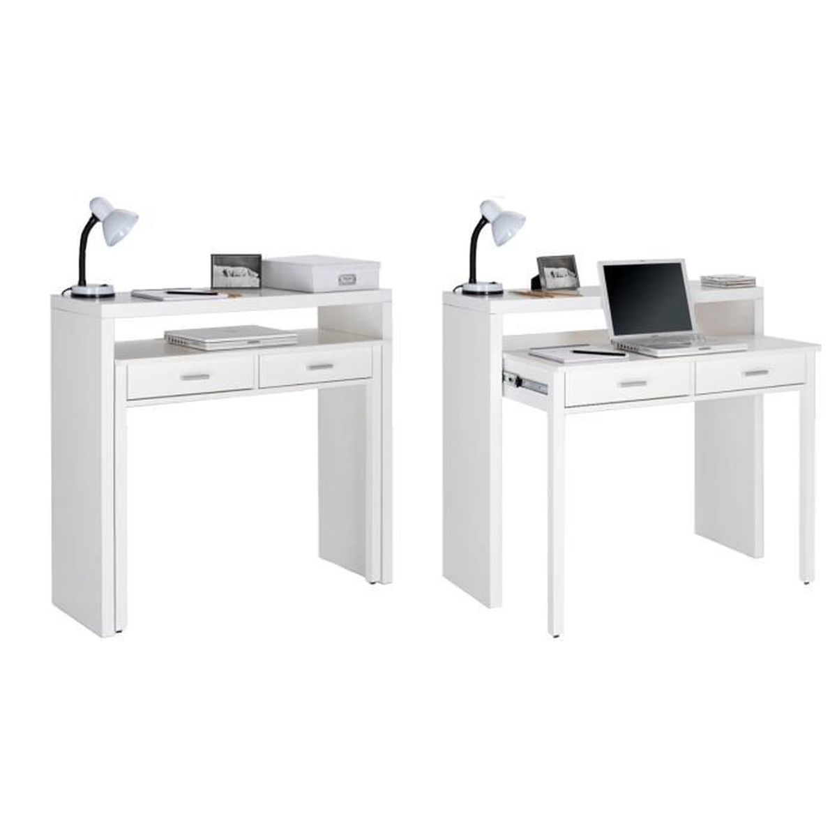 table bureau extensible console bureau couleur blanc brillant dimensions 98 6x86 9x36 70. Black Bedroom Furniture Sets. Home Design Ideas