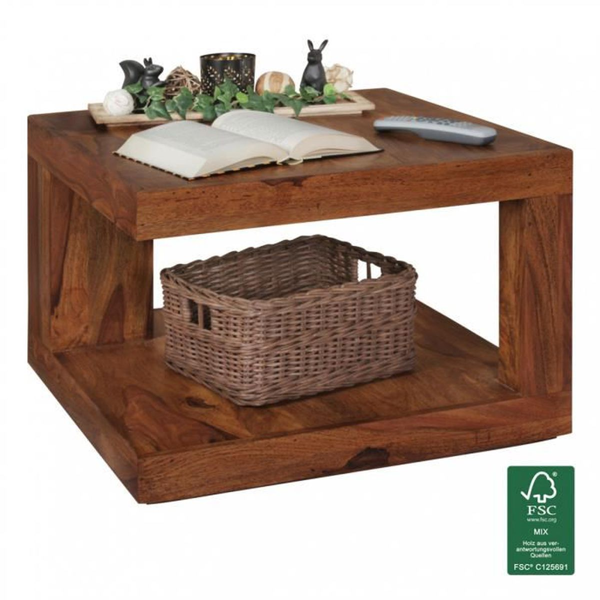 Wohnling table basse en bois massif table basse sheesham - Table basse en bois massif ...