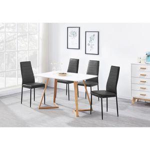 TABLE À MANGER COMPLÈTE Ensemble Table à Manger Blanche Moderne + 4 Chaise