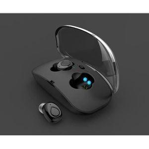 CASQUE - ÉCOUTEURS oreillette bluetooth 2 noir invisible avec micro d