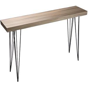 CONSOLE Table d'Entrée Console en Bois et Métal Noir Dalla