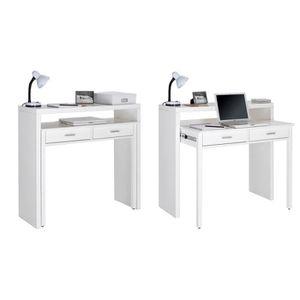 BUREAU  Table bureau extensible - Coloris blanc brillant -