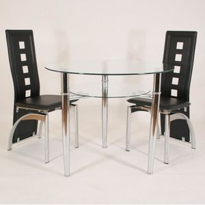 table ronde pied chrome achat vente table ronde pied. Black Bedroom Furniture Sets. Home Design Ideas