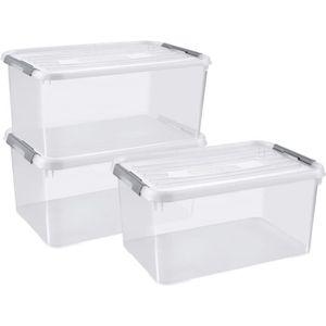 PANIER A LINGE CURVER Lot de 3 handy box - 50L- EPACK - Transpare