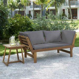 Salon bas de jardin Salon de jardin en bois d'acacia FSC 2 personnes K