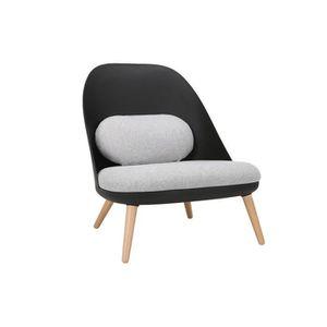FAUTEUIL Miliboo - Fauteuil design noir avec coussins en ti