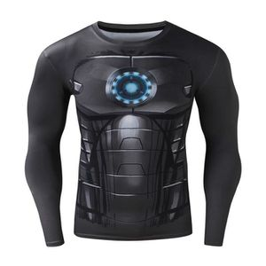SWEATSHIRT Homme t-shirt Compression Manches Longues Iron Man