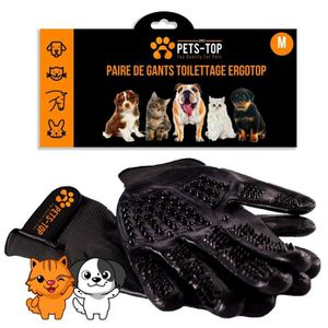 BROSSE - CARDE Gants Brossage Chat Chien (Paire) Taille M