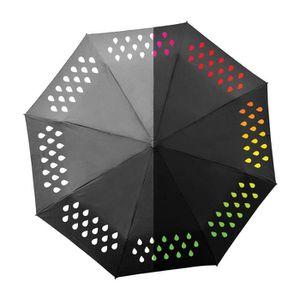 """Color changing Parapluie sec ou humide Changement Couleur 23/"""" pliable avec housse"""