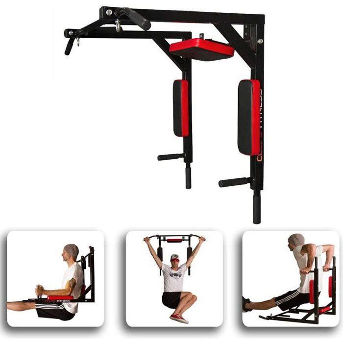 Fitness-Barre de Traction Murale-Chaise Romaine Murale - Barre de Traction