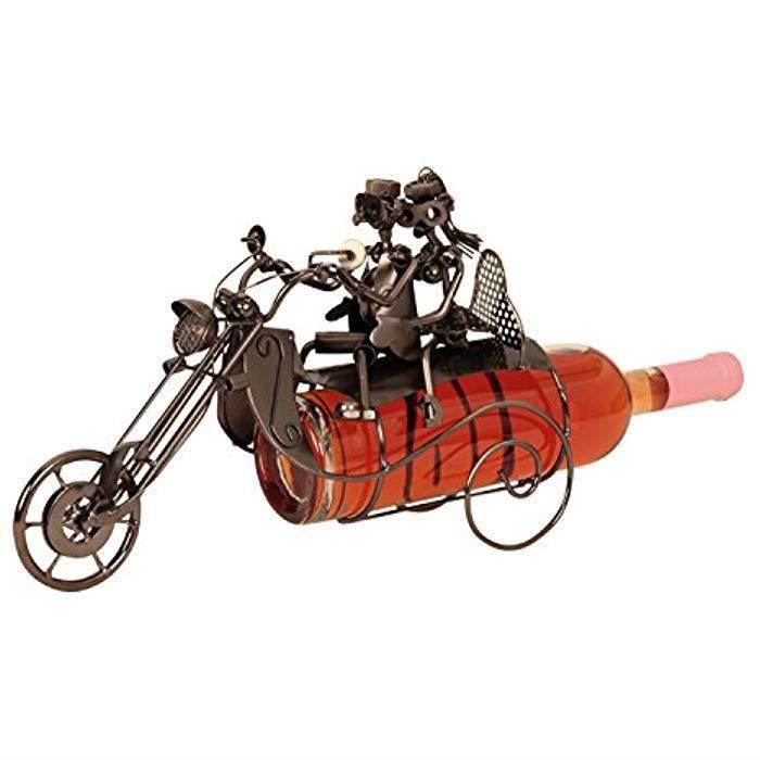 Porte-bouteille de vin moderne moto avec paire en argent hauteur 23 cm largeur 36 cm
