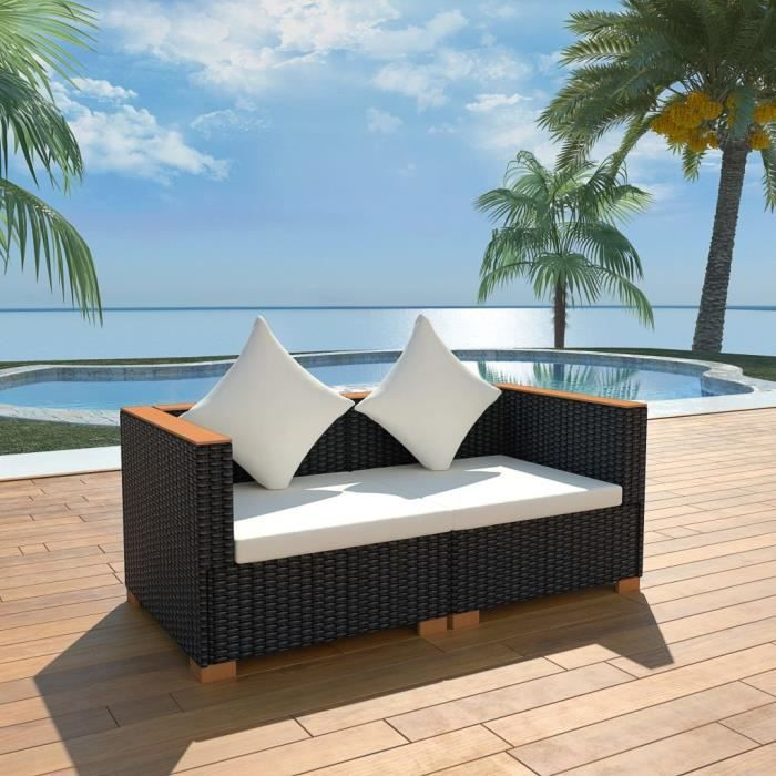 Canapé de jardin - Sofa Divan Canapé de relaxation Canapé Contemporain Résine tressée Noir Nouveau *782124