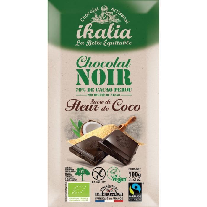 Tablette de chocolat noir au sucre de fleur de coco 100gr (bio/sans gluten/vegan)