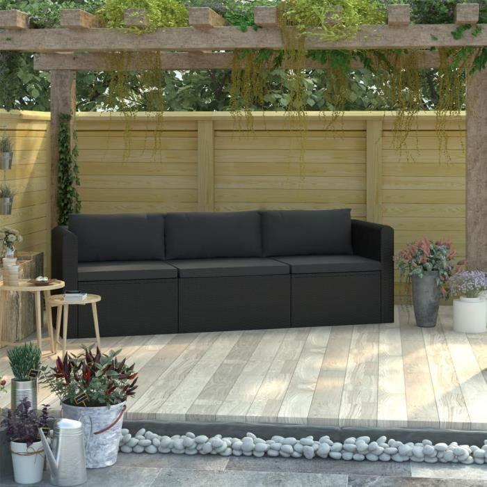Canapés de jardin 3 pcs Canapé de Terrasse Canapé de Patio Extérieur Mobilier d'extérieur - avec coussins Résine tressée Noir