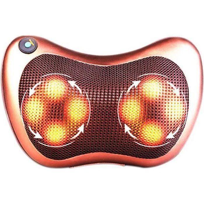 Coussin massage chauffant, massant bien etre shiatsu avec 8 rouleaux, pétrissage dos cou corp, Relax appareil de massage