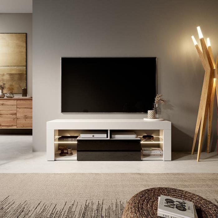 Meuble TV / Banc TV - BIANKO - 140 cm - blanc mat / noir brillant - avec LED - style moderne - tablette en verre