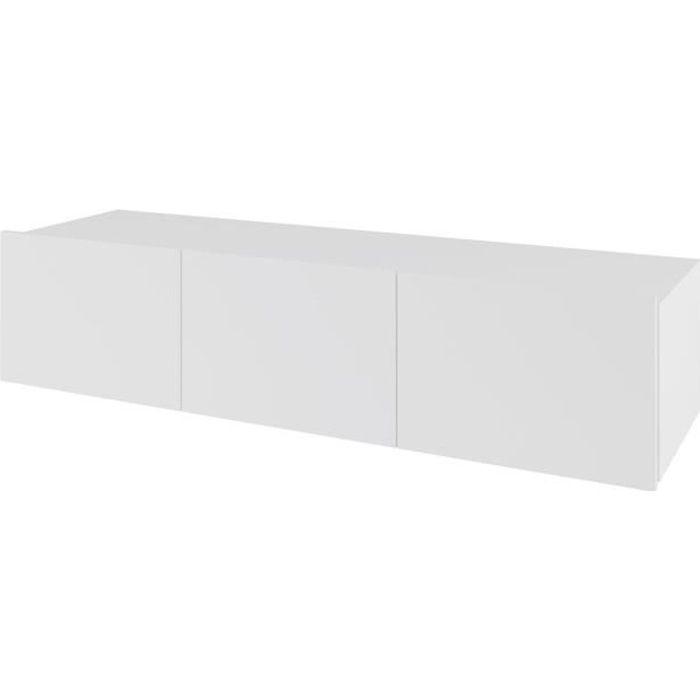 DOMTECH Meuble TV suspendu Blanc brillant 150 cm Meuble de jeu Armoire murale moderne