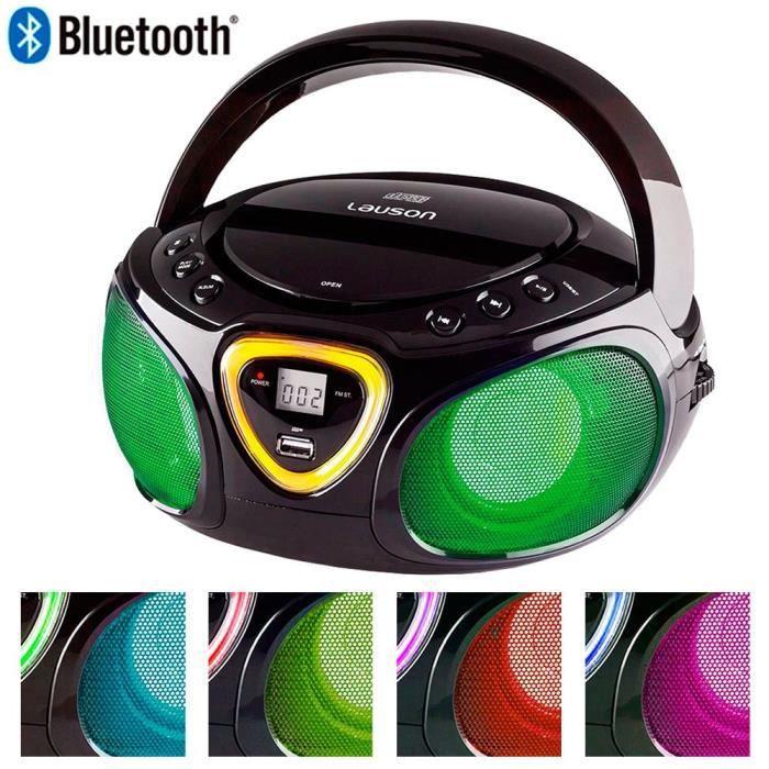 Lauson Radio CD Bluetooth - USB - Lecteur CD Portable pour Enfants - Lumière LED Effet Disco - AM/FM