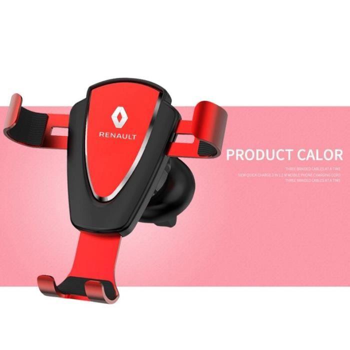 Supports voiture,Support de capteur de gravité cadre de support de téléphone portable multifonctionnel pour renault - Type Rouge