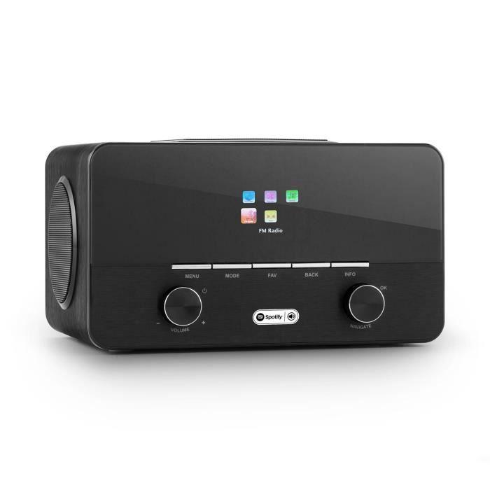 auna Connect 150 BK 2.1 • Radio numérique Wifi • Lecteur réseau • Réseau • DAB-DAB+-FM RDS • USB MP3 • AUX • 2 enceintes • réveil