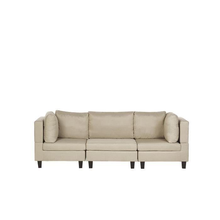 Canapé 3 places modulable en tissu beige FEVIK