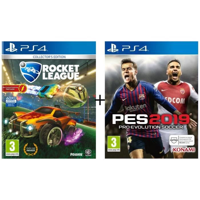 Pack 2 jeux PS4 : Rocket League Edition Collector + PES 2019