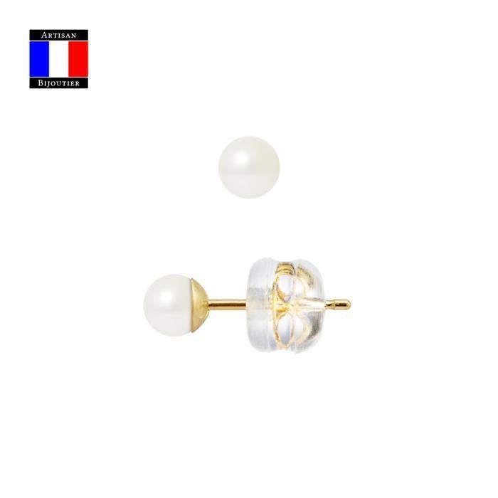Compagnie Générale des Perles - Boucles d'Oreilles Véritable Perle de Culture 4-5 mm Or Jaune 18 Cts Système Sécurité - Bijou Femme
