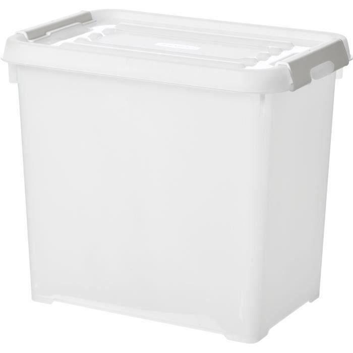CURVER - Handy box - Plus 9L + clips gris avec couvercle 100% recyclée