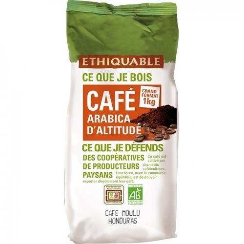 ETHIQUABLE - Café Honduras MOULU bio & équitable 1 kg - 100% Arabica d altitude - intensité 4/5 & 3/5