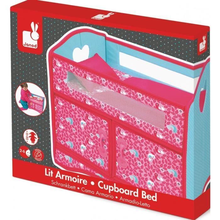 Lit Armoire Pour Poupee Rose Pliable 40 x 25 x 36,5 cm (Lxlxh) - Janod - Mobilier - Accessoire Poupee