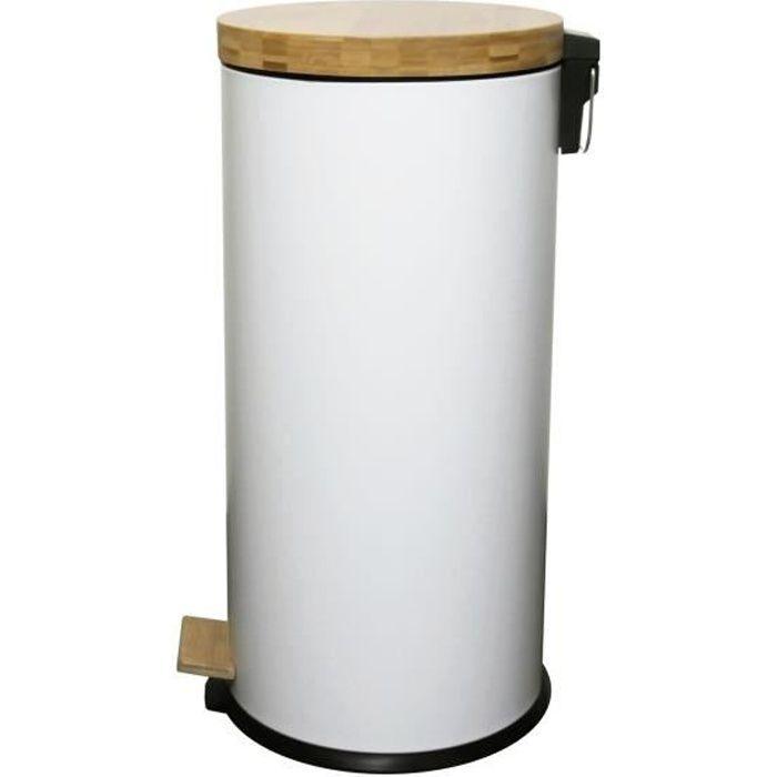 KITCHEN MOVE Poubelle de cuisine à pédale Forest - 30L - Blanc mat