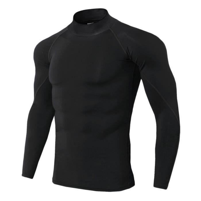 Maillot Compression À Manches Longues Pour Homme Tee Shirt De Sport Séchage Rapide Baselayer Haut Noir S