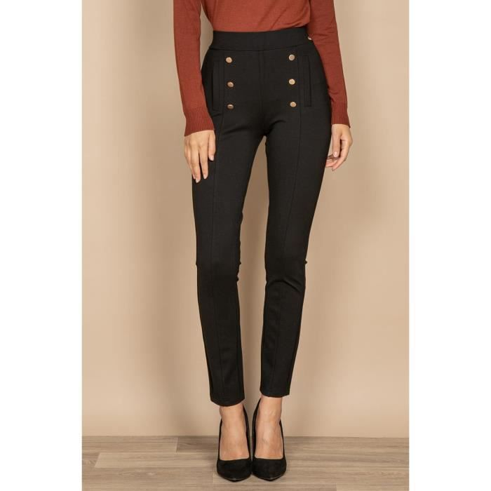 DEELUXE Pantalon legging avec boutons LILOU Black