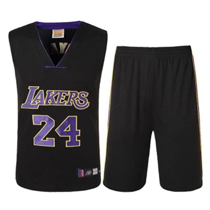 NBA Star LAL Kobe Bryant LAKERS 24 Maillot et Shorts de basketball Homme - Noir