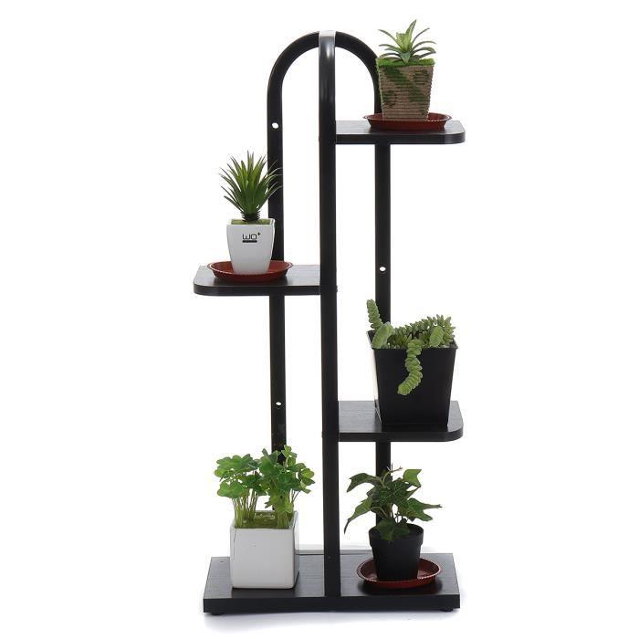 Porte Plante Etagère de Fleur 4 Niveaux Présentoire de Jardin Noir Avec Roues