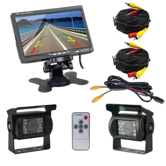 Podofo® Caméra de Recul 7 Pouces TFT LCD Ecran Moniteur de Véhicule 2 x Caméras de Sauvegarde IR LED Vision Nocturne Étanche Caméra