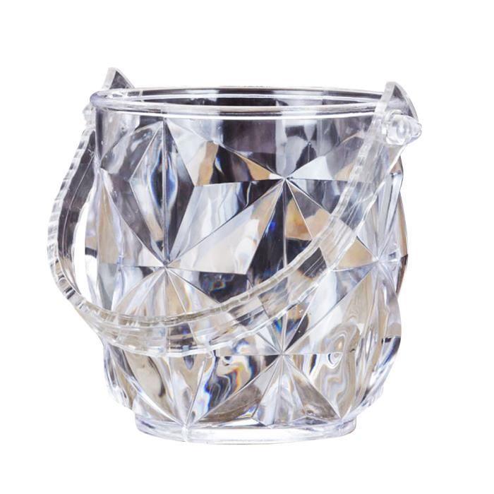 1 pc Seau À Glace Portable Transparent Rond Acrylique Conteneur De Vin Ensemble avec Pince pour SEAU A GLACONS - RAFRAICHISSEUR