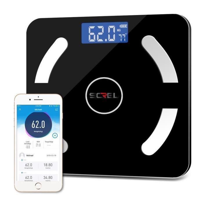 Pèse-personne connecté balance intelligente impédancemètre Bluetooth - App multilingue (IMC, Poids, graisse, muscule, eau, os...)