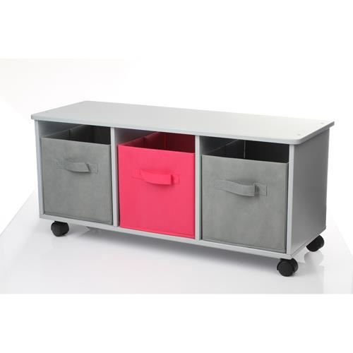 meuble sur roulettes 3 tiroirs bois gris r achat. Black Bedroom Furniture Sets. Home Design Ideas