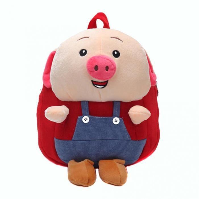 Dessin Animé 3d Cochon Kawaii En Peluche Sac à Dos Enfants Garçon Fille Maternelle Sac Décole Rouge