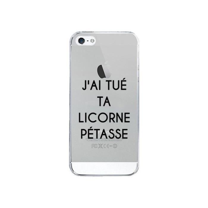 Coque iPhone 5/5S et SE Tué Licorne Pétasse Transp
