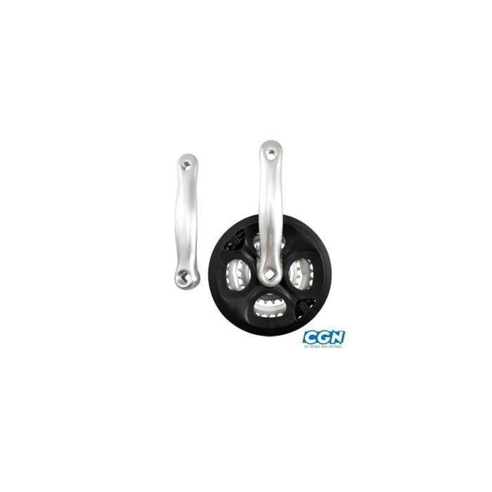 Pedalier vtt 9v alu noir black-x 170mm 48-38-28 boitier 110mm avec pare chaine