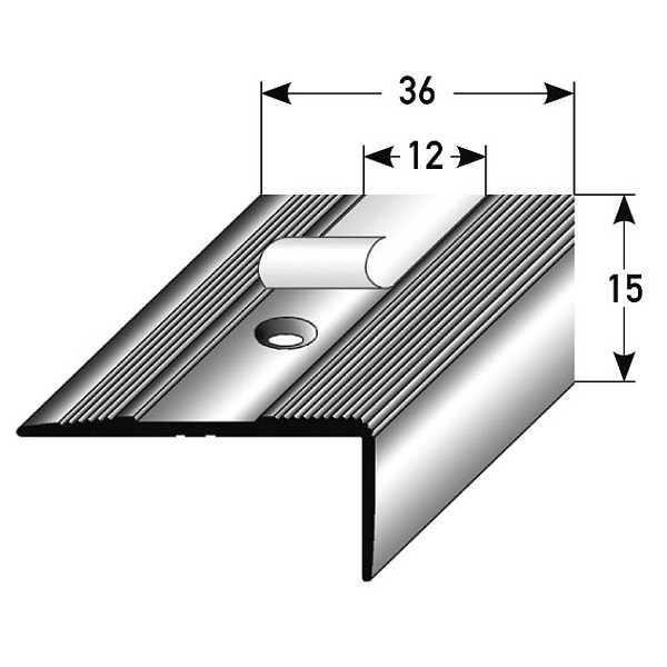 40 mm x 37 mm x 2 mm for/é Nez de marche // Corni/ère pour escaliers aluminium anodis/é couleur: or