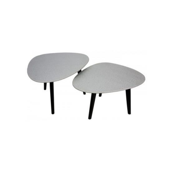 Lot de 2 tables basses ovales sabine argent achat vente table basse lot d - Tables basses ovales ...