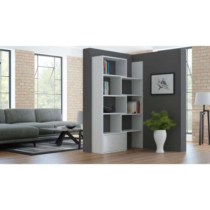 biblioth que design vesta blanc achat vente biblioth que biblioth que design vesta b. Black Bedroom Furniture Sets. Home Design Ideas