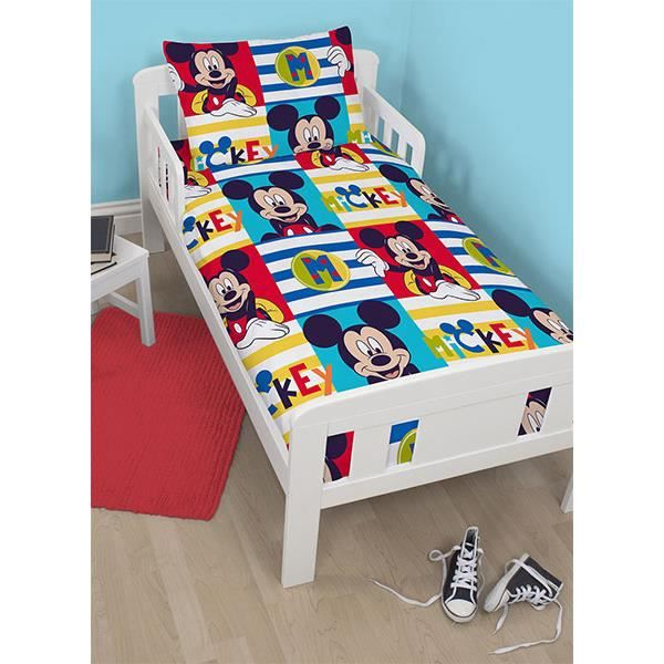 housse de couette mickey pour lit junior achat vente housse de couette cdiscount. Black Bedroom Furniture Sets. Home Design Ideas
