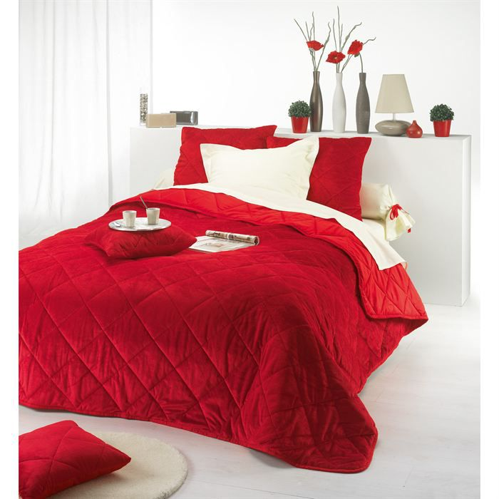 couvre lit rouge soho 2 housses de coussin achat. Black Bedroom Furniture Sets. Home Design Ideas