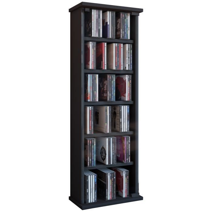 vetro commode tour rangement biblioth que cd dvd 150 cd noir achat vente biblioth que vetro. Black Bedroom Furniture Sets. Home Design Ideas